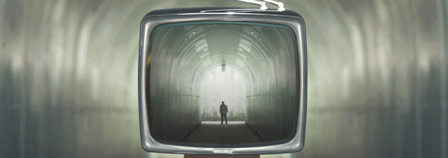 man in a tunnel television control